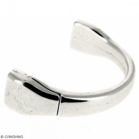 Demi-bracelet Argenté à fermoir aimanté - 105 mm de diamètre - Pour cuir plat 10 mm - Photo n°1