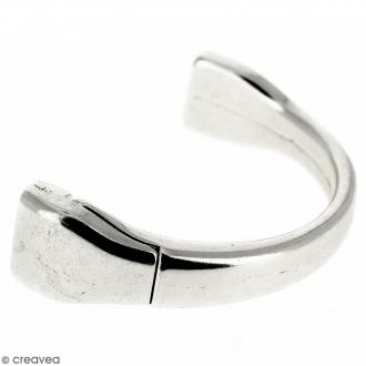 Demi-bracelet Argenté à fermoir aimanté - 105 mm de diamètre - Pour cuir plat 10 mm