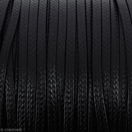 Cordon synthétique plat Noir effet serpent 2 mm - Vendu au mètre (sur mesure)