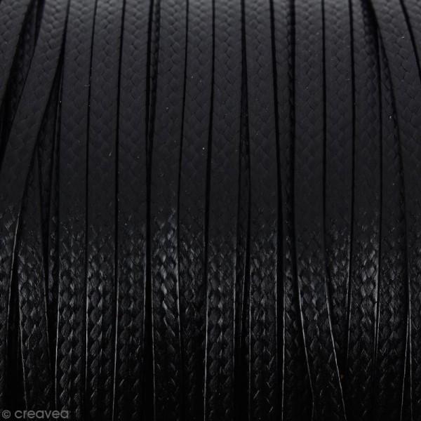 Cordon synthétique plat Noir effet serpent 2 mm - Vendu au mètre (sur mesure) - Photo n°1
