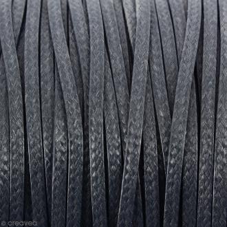 Cordon synthétique plat Gris foncé effet serpent 2 mm - Vendu au mètre (sur mesure)