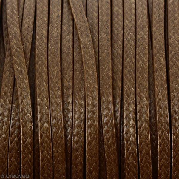 Cordon synthétique plat Beige moka effet serpent 2 mm - Vendu au mètre (sur mesure) - Photo n°1