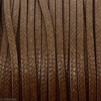 Cordon synthétique plat Beige moka effet serpent 2 mm - Vendu au mètre (sur mesure)
