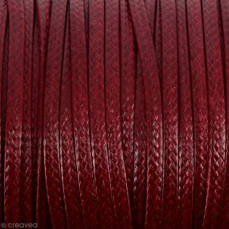 Cordon synthétique plat Rouge foncé effet serpent 2 mm - Vendu au mètre (sur mesure)
