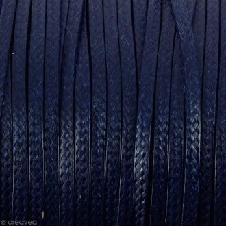 Cordon synthétique plat Bleu foncé effet serpent 2 mm - Vendu au mètre (sur mesure)