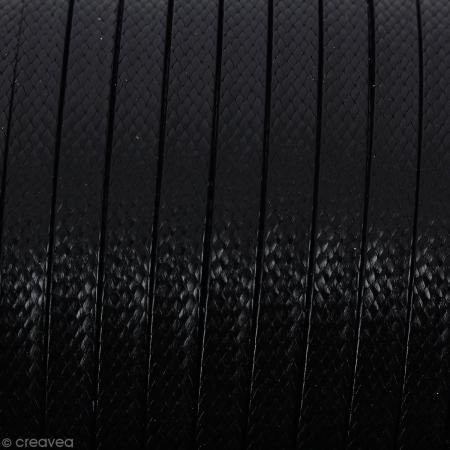 Cordon synthétique plat Noir effet reptile 2 mm - Vendu au mètre (sur mesure)