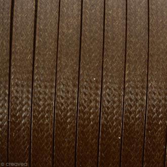 Cordon synthétique plat Beige moka effet reptile 2 mm - Vendu au mètre (sur mesure)