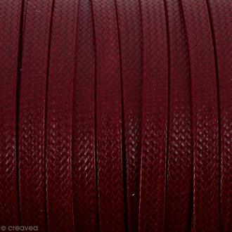 Cordon synthétique plat Rouge foncé effet reptile 2 mm - Vendu au mètre (sur mesure)