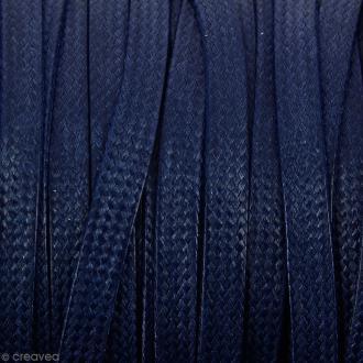 Cordon synthétique plat Bleu foncé effet reptile 2 mm - Vendu au mètre (sur mesure)