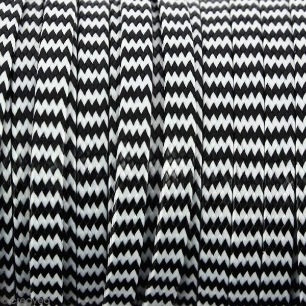 Cordon bicolore plat en polyester 5 mm - Noir et blanc - Vendu au mètre (sur mesure) - Photo n°1