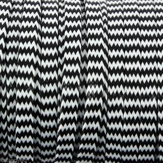 Cordon bicolore plat en polyester 5 mm - Noir et blanc - Vendu au mètre (sur mesure)