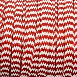 Cordon bicolore plat en polyester 5 mm - Rouge et blanc - Vendu au mètre (sur mesure)