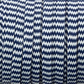 Cordon bicolore plat en polyester 5 mm - Bleu et blanc - Vendu au mètre (sur mesure)
