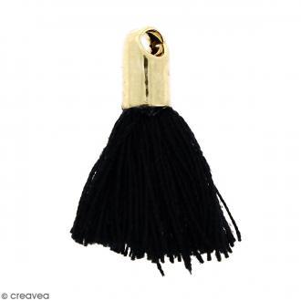 Pompon Noir avec embout Doré - 18 mm