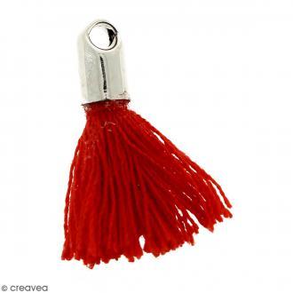 Pompon Rouge avec embout Argenté - 18 mm