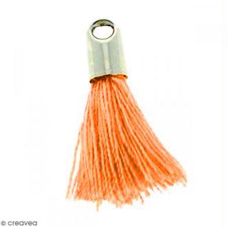 Pompon Orange avec embout Argenté - 18 mm