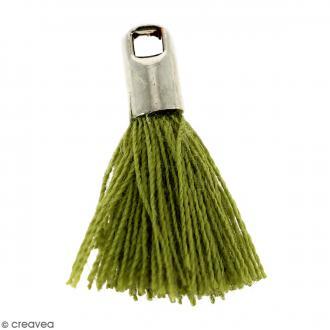 Pompon Vert avec embout Argenté - 18 mm