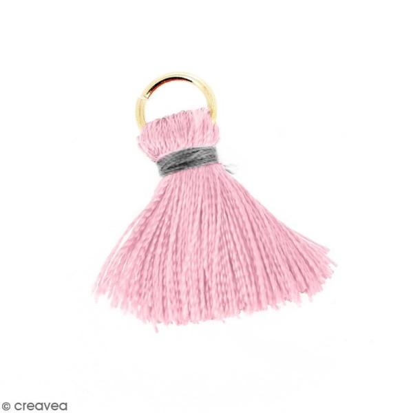Pompon Rose et gris en soie artificielle avec anneau doré - 20 mm - Photo n°1