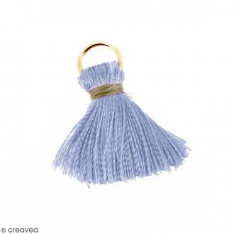 Pompon Bleu et marron pâle en soie artificielle avec anneau doré - 20 mm