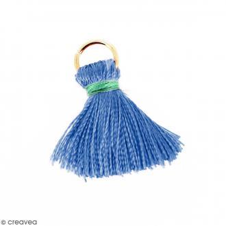 Pompon Bleu et vert en soie artificielle avec anneau doré - 20 mm