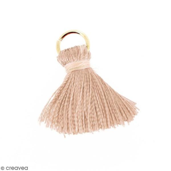 Pompon Marron pâle et beige en soie artificielle avec anneau doré - 20 mm - Photo n°1
