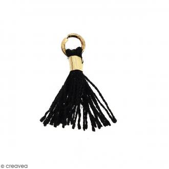 Pompon Noir en coton avec anneau Doré - 10/12 mm