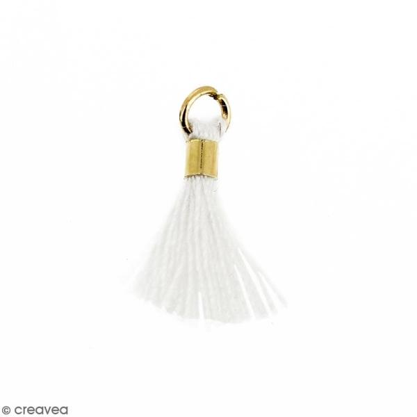 Pompon Blanc en coton avec anneau Doré - 10/12 mm - Photo n°1