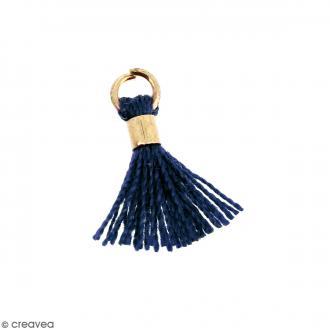 Pompon Bleu foncé en coton avec anneau Doré - 10/12 mm