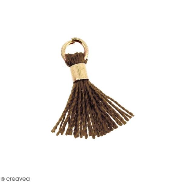 Pompon Marron en coton avec anneau Doré - 10/12 mm - Photo n°1