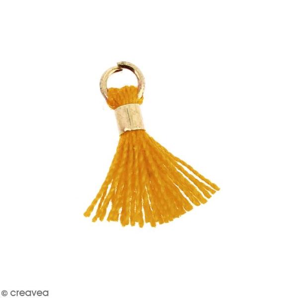 Pompon Jaune moutarde en coton avec anneau Doré - 10/12 mm - Photo n°1