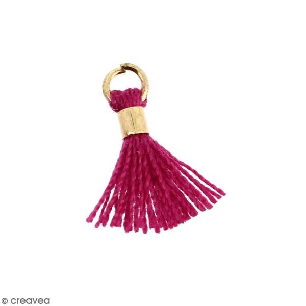 Pompon Lilas foncé en coton avec anneau Doré - 10/12 mm - Photo n°1