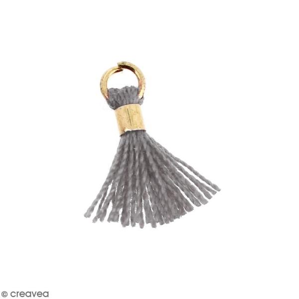 Pompon Gris en coton avec anneau Doré - 10/12 mm - Photo n°1