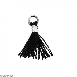 Pompon Noir en coton avec anneau Argenté - 10/12 mm