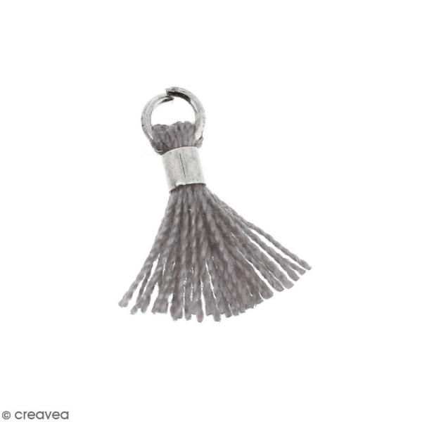Pompon Gris en coton avec anneau Argenté - 10/12 mm - Photo n°1