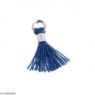 Pompon Bleu en coton avec anneau Argenté - 10/12 mm
