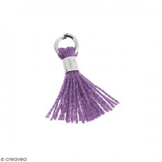Pompon Violet lavande en coton avec anneau Argenté - 10/12 mm