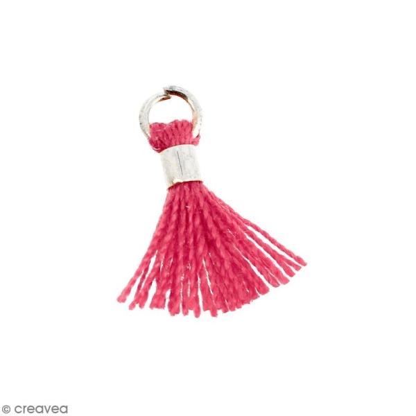 Pompon Rose en coton avec anneau Argenté - 10/12 mm - Photo n°1