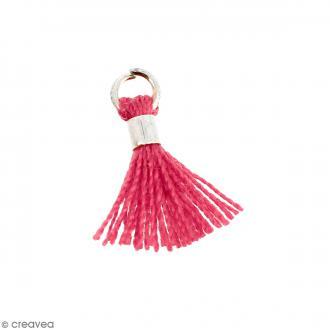 Pompon Rose en coton avec anneau Argenté - 10/12 mm