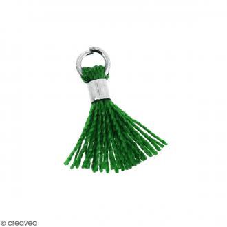 Pompon Vert en coton avec anneau Argenté - 10/12 mm