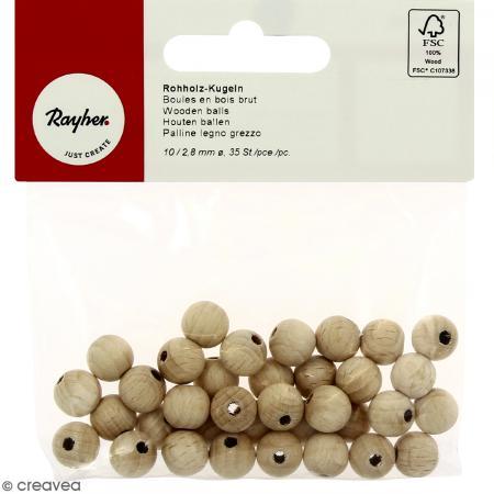 Perle en bois brut 10 mm - 35 pcs - Photo n°1