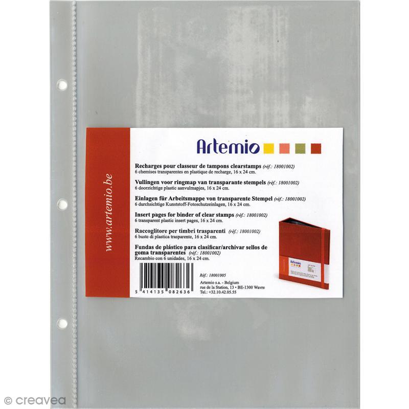 pochettes pour classeur tampons artemio 6 pcs classeur rangement tampons creavea. Black Bedroom Furniture Sets. Home Design Ideas