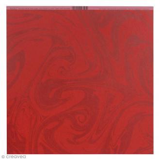Papier scrapbooking Bazzill - Marbre - Rouge foncé - 30 x 30 cm