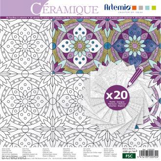 Cahier de coloriage - Céramique - 30,5 x 30,5 cm - 20 feuilles