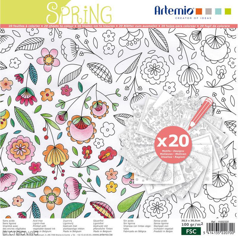 cahier de coloriage printemps 30 5 x 30 5 cm 20. Black Bedroom Furniture Sets. Home Design Ideas