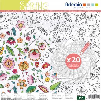 Cahier de coloriage - Printemps - 30,5 x 30,5 cm - 20 feuilles
