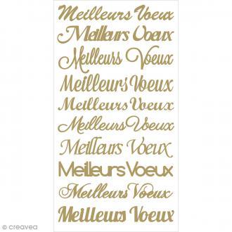 Stickers puffies glitter dorés - Meilleurs Voeux - 10 pcs