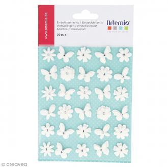 Papillons et fleurs blancs à paillettes en papier - 30 pcs