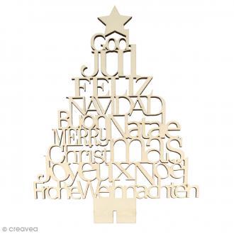 Sapin Joyeux Noël en bois sur pied - 36 cm