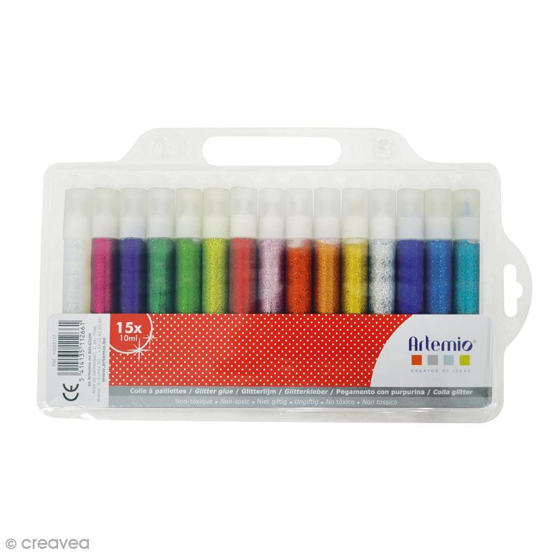 Colle à paillettes Artemio - Assortiment 15 tubes - Photo n°1