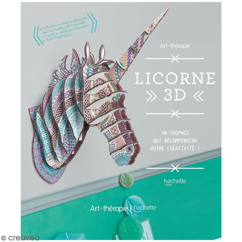 Troph e licorne 3d colorer et monter avec livre et for Decoration murale licorne